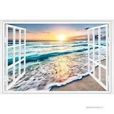 3d Fake Window Sunrise Ocean Beach Wall Sticker Vinyl Mural Decal Wallpaper B07bw8zz12