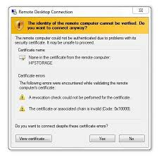 windows 7 sp1 causes rdp certificate error