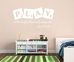 Wall Decal Decor Playroom Decor Play Is The Highest Form Of Research Albert Einstein Quote Prestomall Others Wall Decor
