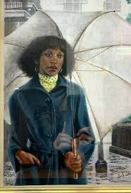 20th Century African America Art Felix Cole Woman in Rain with Umbrella  Signed | eBay