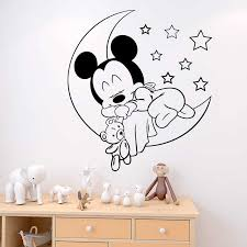 Disney Sleeping Mickey Moon Stars Wall Decals For Kids Room Home Decor Bedroom Cartoon Wall Stickers Vinyl Mural Art Diy Posters Wall Stickers Aliexpress