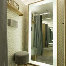 led floor standing vanity mirror with