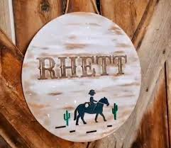 Cowboy Nursery Name Sign Boys Room Sign Name Sign Custom Etsy