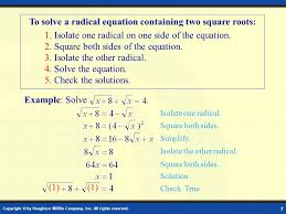 solving radical equations ppt