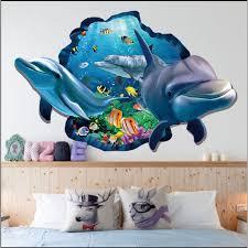 Lnkoo 3d Ocean Dolphin Removable Vinyl Decal Wall Sticker Art Mural Removable Decals Home Living Room Decoration Walmart Com Walmart Com
