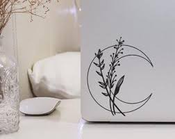 Crescent Moon Decal Etsy