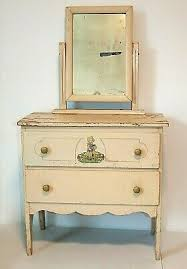 Small Vintage Child S Dresser Vanity With Mirror Decal Chippy Paint Ebay