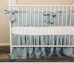 duck egg blue linen baby bedding with