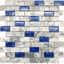 navy blue glass mosaic grey marble 1 x