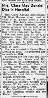 Clara Adeline (Thompson) Givens MacDonald obituary - Newspapers.com