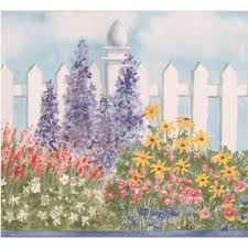 Wide Red White Violet Flowers By White Fence Floral Wallpaper Border Retro Design Roll 15 X 6 87 Walmart Canada