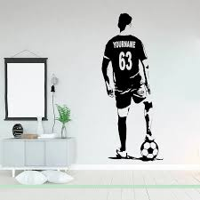 Soccer Player Silhouette Wall Decal Football Player Custom Name And Jersey Numbers Wall Sticker Vinyl Bedroom Decor Poster X287 Wall Stickers Aliexpress