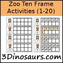 3 dinosaurs zoo ten frame activities