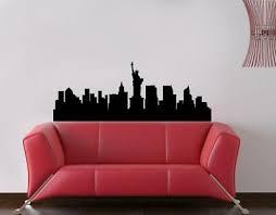 New York Skyline Nyc View Wall Sticker Decal Art Mural Stencil Silhouette St214 Ebay