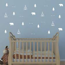 Amazon Com Woodland Wall Decal Bears Arrow Teepees Trees And Mountains Decor Matte Vinyl Wall Stickers For Baby Bedroom Nursery Wall Decals Y05 White Home Kitchen