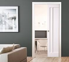 white sliding pocket door internal