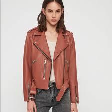 balfern leather moto jacket rose pink