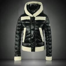 lamb fur hooded down jackets black