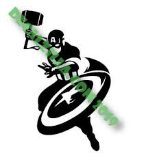 Captain America With Mjolnir Decal Sticker For Cars Laptops Phones And More