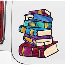 Amazon Com Books Stack Of Books Library Stained Glass Style Opaque Vinyl Car Decal Yadda Yadda Design Co Med 5 W X 6 H Kitchen Dining