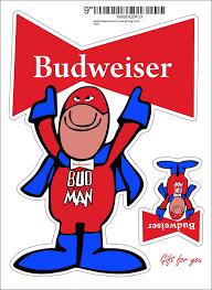 Amazon Com Bud Man Budweiser Beer Retro Vinyl Decal Any Size Budman Stickers For Car Bumper Window Bar Fridge 9 Inch Kitchen Dining