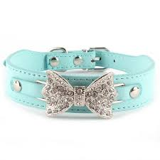 crystal bling leather bow tie pet