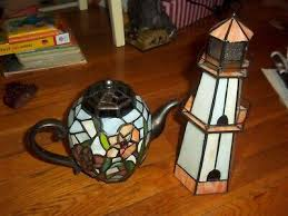 vintage stained glass light house night