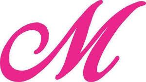 5 25in X 3in Pink Cursive M Monogram Sticker Fancy Vinyl Vehicle Stickers For Sale Online