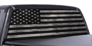 Fgd Brand Truck Rear Window Wrap Black White Distressed American Flag Perforated Vinyl Decal Family Graphix Llc