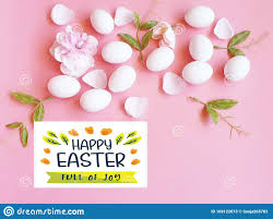 happy easter greetings white eggs green on pink living coral