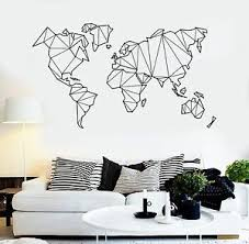 Vinyl Wall Decal Abstract Map World Geography Earth Stickers 838ig Ebay