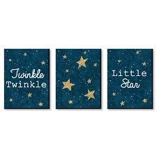 Twinkle Twinkle Little Star Baby Boy Nursery Wall Art Kids Room Decor 7 5 X 10 Set Of 3 Prints Walmart Com Walmart Com