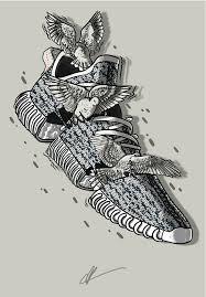 kanye yeezy 350 turtledove sneaker art