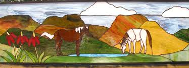stained glass horse scene