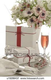 gifts and sparkling wine stock photo
