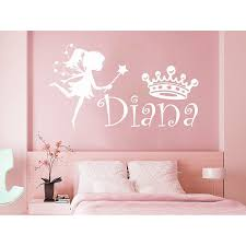 Shop Girl Name Fairy Crown Sticker Personalized Name Nursery Baby Kids Custom Name Vinyl Sticker Decal Size 22x30 Color Black Overstock 14084866