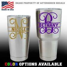 Monogram Split Vine Initial Name Decal Sticker For Yeti Tumbler Cup Mug Window Ebay