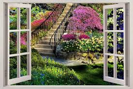 Flower Garden 3d Window View Decal Wall Sticker Home Decor Art Mural