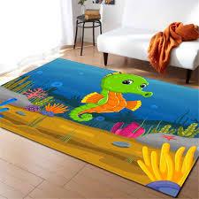3d Ocean Fishes Rug Carpet Children Room Decor Mat Anti Slip Soft Bedroom Living Room Cartoon Seahorse Baby Crawling Carpets Carpet Aliexpress