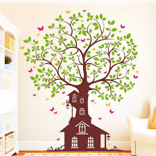 Wall Decal Tree House With Butterflies 4coloured Etsy