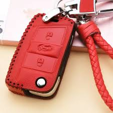 red bmw leather car key fob case cover