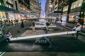 giant seesaws transform new york city s