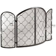 candra fireplace screen with tealight