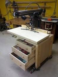 Radial Arm Saw Cabinet Stand And Molding Shaper Fence Woodsaw Radial Arm Saw Radial Arm Saw Table Woodworking Shop Layout