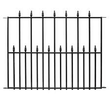 Hampton Bay Empire 30 In X 36 In Black Steel 3 Rail Fence Panel 860190 The Home Depot Metal Fence Panels Steel Fence Panels Steel Fence