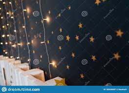 Cut And Pasted Gold Stars On A Dark Wall Of Kids Room With Lights Baby Room Interior Concept Handmade Decoration With Stickers O Stock Image Image Of Magic Kids 160436657