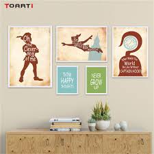 Peter Pan Theme Quotes Wall Art Canvas Painting Nordic Silhouette Drawing Vintage Posters Prints Kids Bedroom Decoration Picture Painting Calligraphy Aliexpress