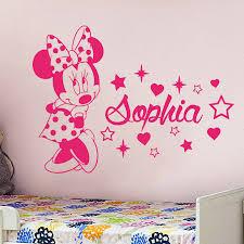 Yoyoyu Minnie Mouse Vinyl Wall Sticker Kids Room Personalised Custom Name Decal Nursery Girl Bedroom Decoration Art Poster Zx085 Bedwinthine