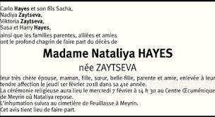 Hommages - Pour que son souvenir demeure: Nataliya HAYES ZAYTSEVA
