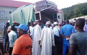Image result for FG distributes eight trucks of assorted relief